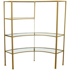 Mid-Century Modern Glass Curved Wrought Iron Shelving Unit Frederick Weinberg