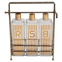 Mid-Century Modern Glass Decanter Set with Brass Stand