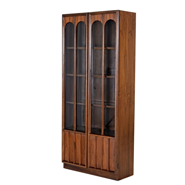 American Mid-Century Modern Glass Front Rosewood Arch Accent Walnut Display Hutch Cabinet For Sale
