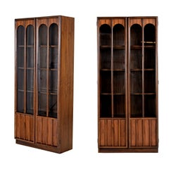 Mid-Century Modern Glass Front Rosewood Arch Accent Walnut Display Hutch Cabinet