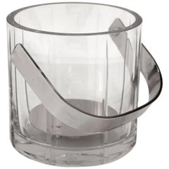 Mid-Century Modern Glass Ice Bucket with Chrome Handle