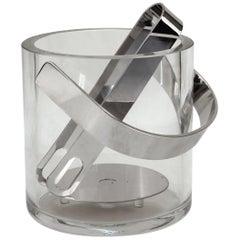 Mid-Century Modern Glass Ice Bucket with Tongs