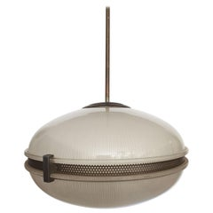 Mid-Century Modern Glass Pendant Light with Bronzed Metal Detail