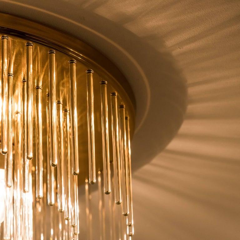 20th Century Mid-Century Modern Glass Rod Waterfall Flush Mount Sciolari for Lightolier, 1970 For Sale