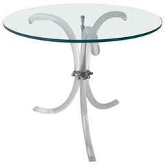 Mid-Century Modern Glass Top, Chrome & Lucite Tripod Leg Side / Occasional Table