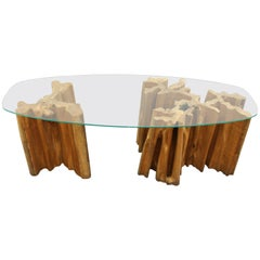 Mid-Century Modern Glass Top Cocktail Table with Tree Trunk Base