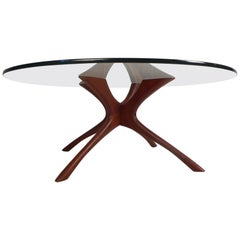 Oval Glass Top Coffee Table By Pearsall At 1stdibs