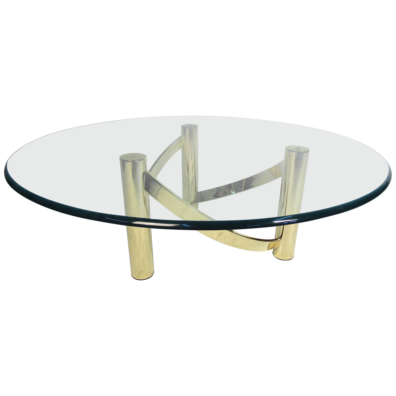 Mid-Century Modern Glass Top Coffee Table