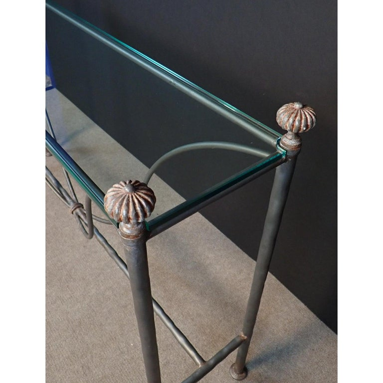 Mid-Century Modern Glass Top Iron Console Table For Sale 5