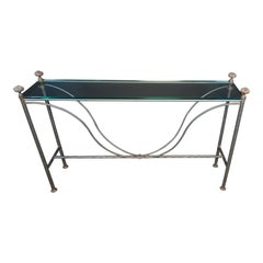 Mid-Century Modern Glass Top Iron Console Table