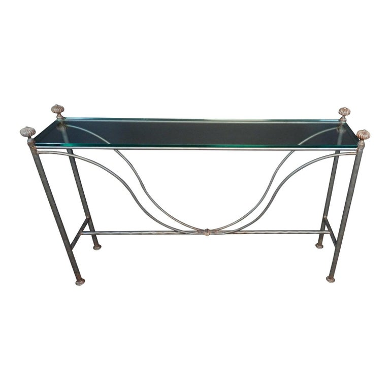 Mid-Century Modern Glass Top Iron Console Table For Sale
