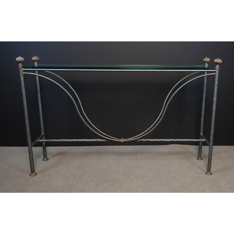 Italian Mid-Century Modern Glass Top Iron Console Table For Sale