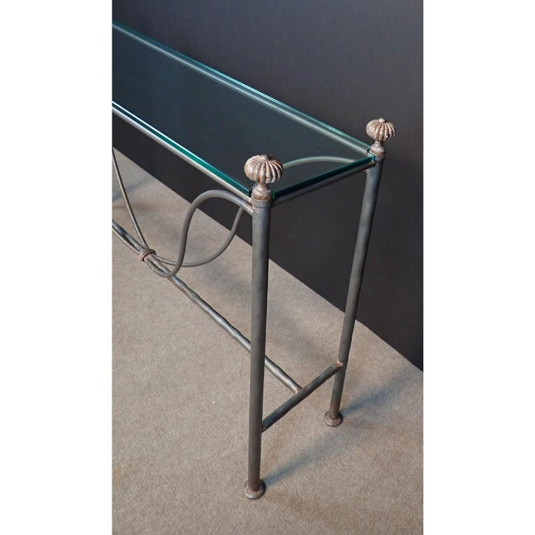 Blackened Mid-Century Modern Glass Top Iron Console Table For Sale