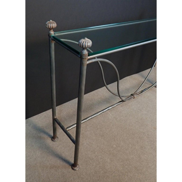 Mid-Century Modern Glass Top Iron Console Table For Sale 3