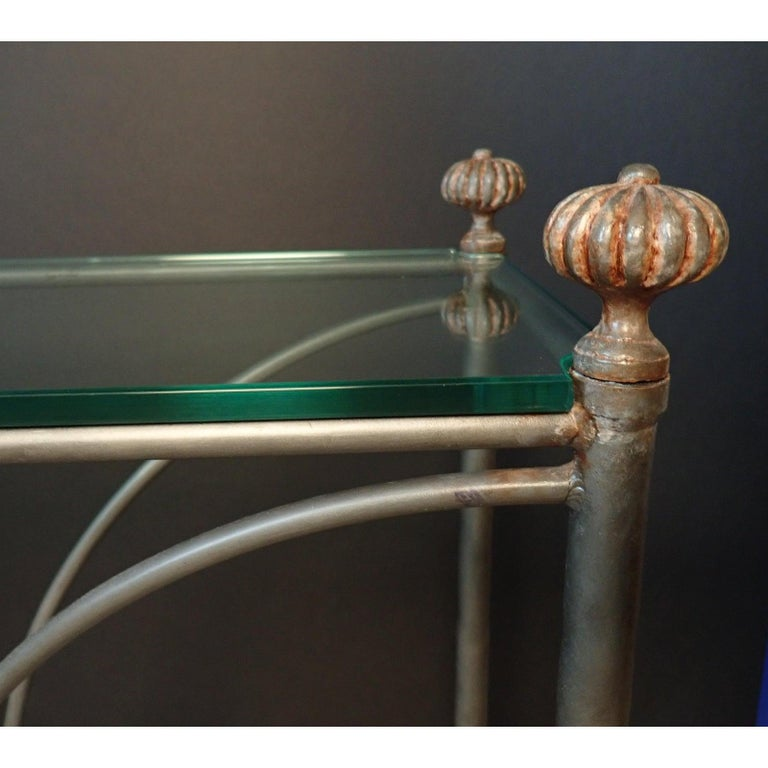 Mid-Century Modern Glass Top Iron Console Table For Sale 4