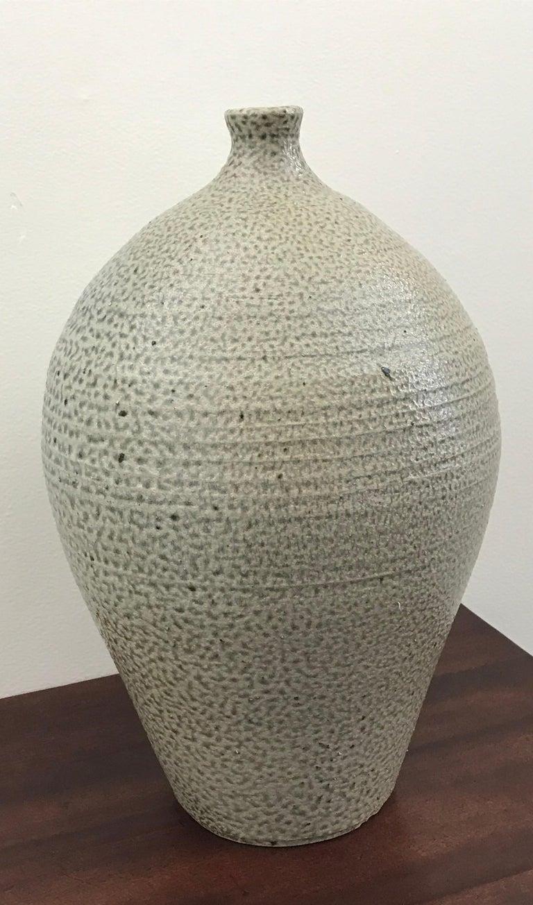 Mid-Century Modern Glazed Ceramic Stoneware Vase by Michael Kreisberg In Good Condition For Sale In Bedford Hills, NY