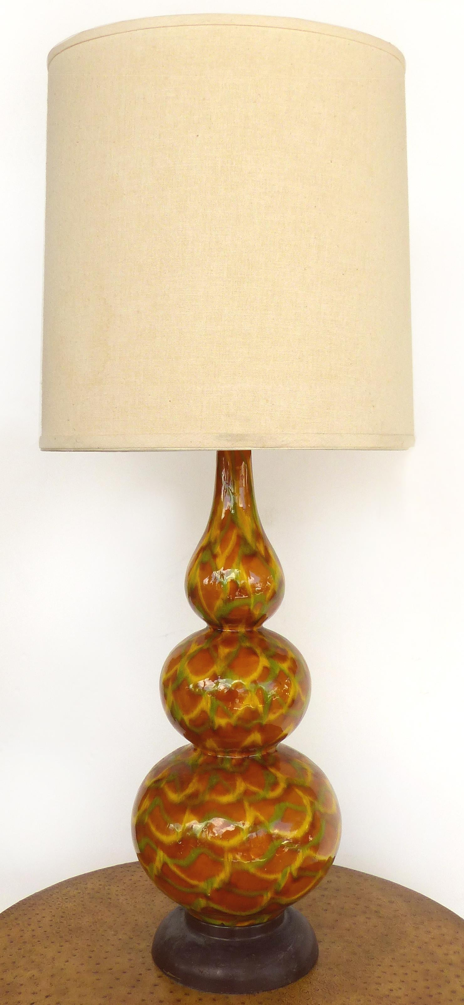 Mid Century Modern Glazed Ceramic Table Lamps