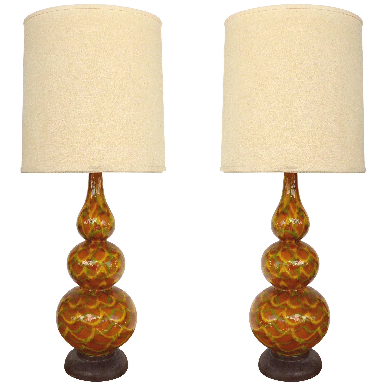 Mid-Century Modern Glazed Ceramic Table Lamps