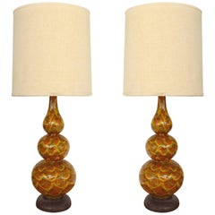 Mid-Century Modern Glazed Ceramic Table Lamps