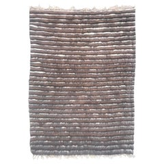 Mid-Century Modern Goat Hair Moroccan Rug with Stripes