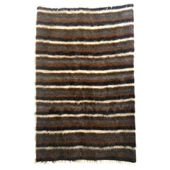 Mid-Century Modern Goat Hair Rug with Stripes 'Wide'