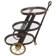 Aldo Tura Bar Cart in Goatskin Parchment
