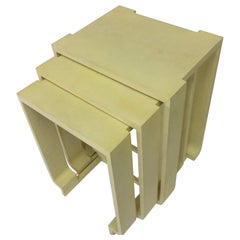 Mid-Century Modern Goat Skin Parchment Nesting Tables, in Stock