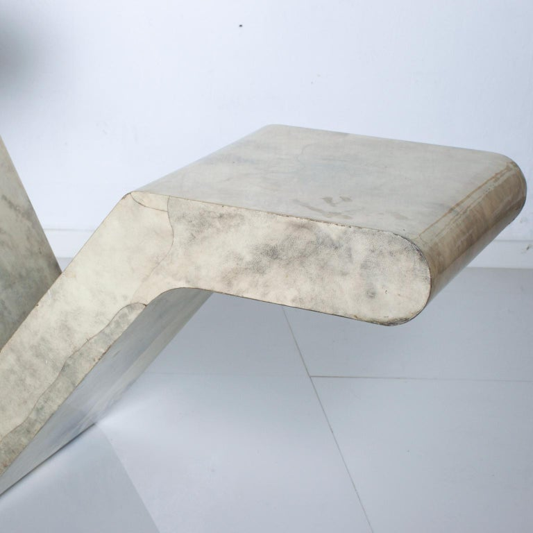 Italian Mid-Century Modern Goatskin Parchment Sculptural Console Table For Sale