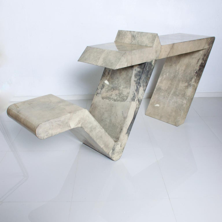 Mid-Century Modern Goatskin Parchment Sculptural Console Table In Good Condition For Sale In National City, CA