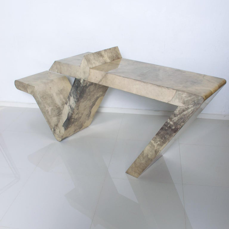 Mid-20th Century Mid-Century Modern Goatskin Parchment Sculptural Console Table For Sale