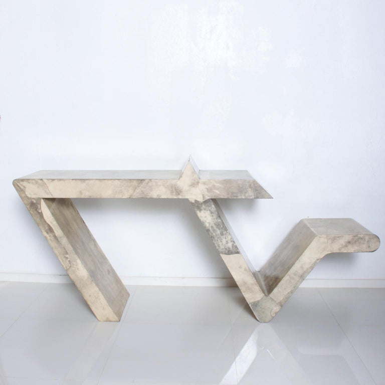 Mid-Century Modern Goatskin Parchment Sculptural Console Table For Sale 1