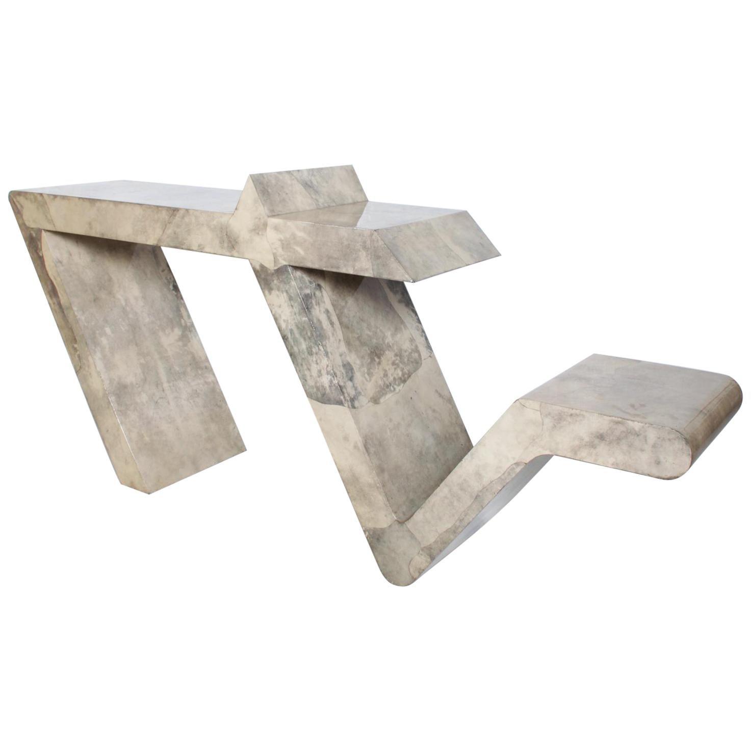 Mid-Century Modern Goatskin Parchment Sculptural Console Table