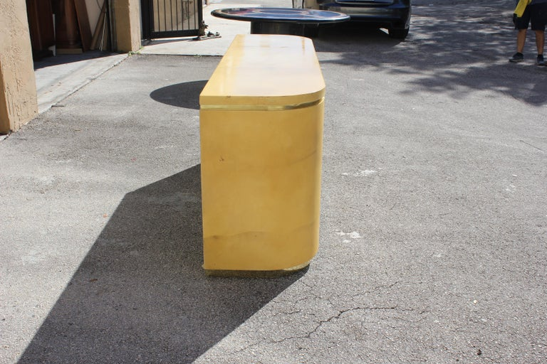 Mid-Century Modern Goatskin Sideboard with Brass Detail 1970s For Sale 5