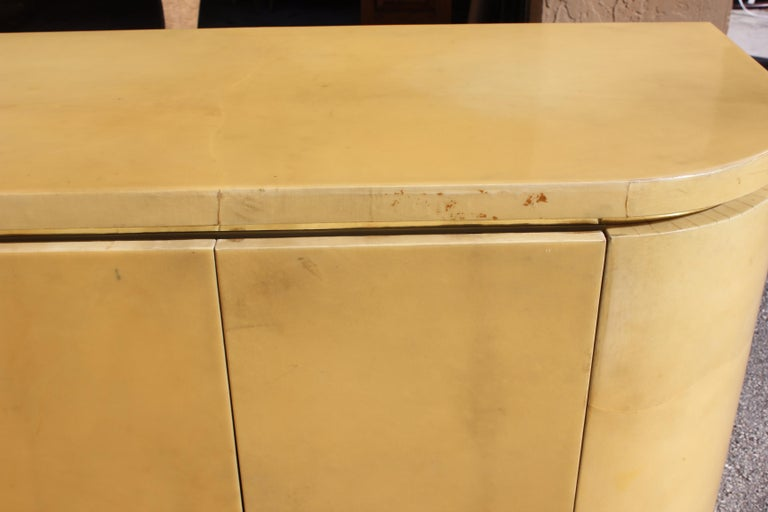 Mid-Century Modern Goatskin Sideboard with Brass Detail 1970s For Sale 8