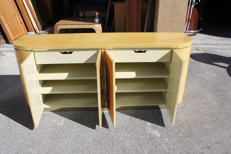 Mid-Century Modern Goatskin Sideboard with Brass Detail 1970s For Sale 9