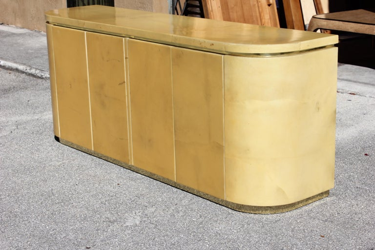Mid-Century Modern Goatskin Sideboard with Brass Detail 1970s For Sale 11