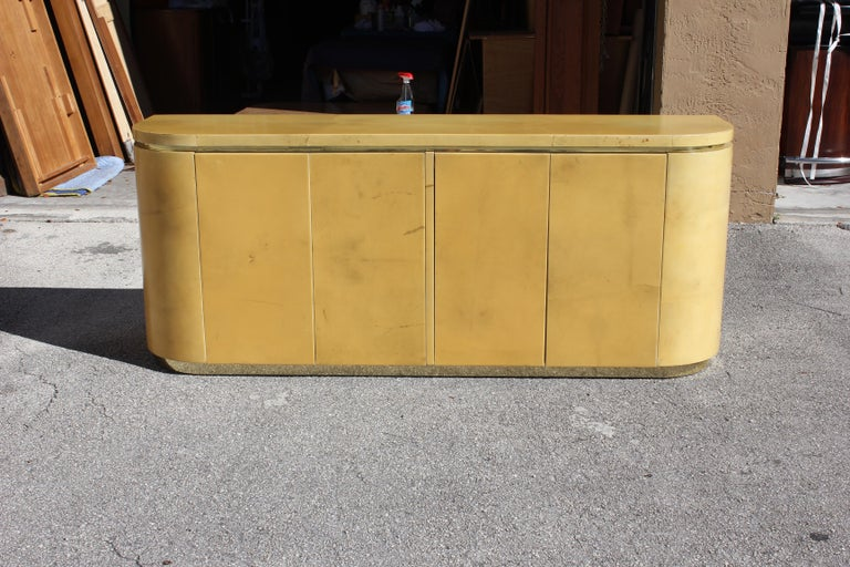 Mid-Century Modern Goatskin Sideboard with Brass Detail 1970s For Sale 12