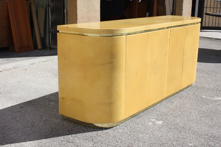 Mid-Century Modern Goatskin Sideboard with Brass Detail 1970s For Sale 13