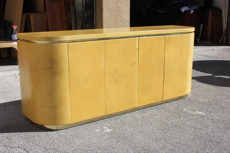 American Mid-Century Modern Goatskin Sideboard with Brass Detail 1970s For Sale