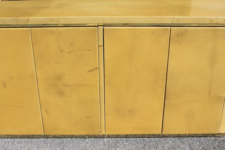 Late 20th Century Mid-Century Modern Goatskin Sideboard with Brass Detail 1970s For Sale