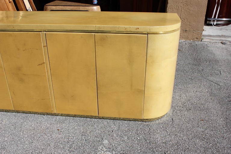 Mid-Century Modern Goatskin Sideboard with Brass Detail 1970s For Sale 1
