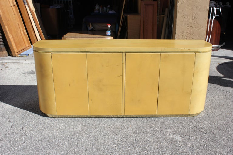 Mid-Century Modern Goatskin Sideboard with Brass Detail 1970s For Sale 3