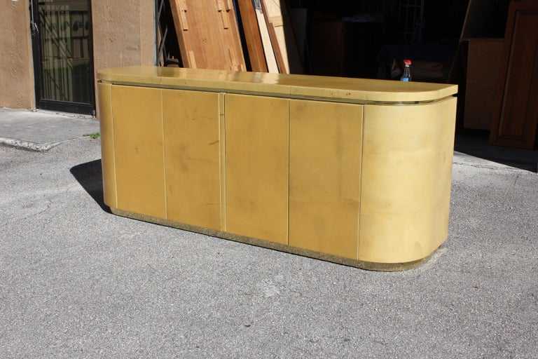 Mid-Century Modern Goatskin Sideboard with Brass Detail 1970s For Sale 4