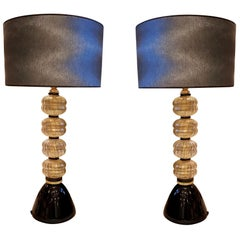 Pair of Mid-Century Modern Gold/Black Murano Glass table Lamps, Venini Style
