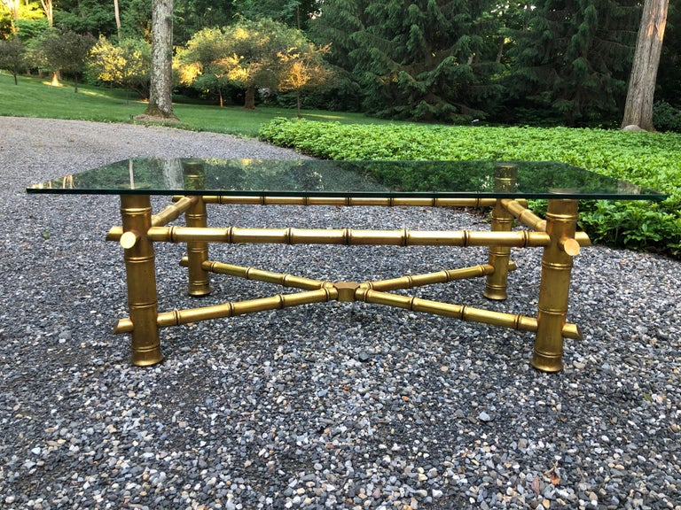 American Mid-Century Modern Gold Faux Bamboo Coffee Table For Sale