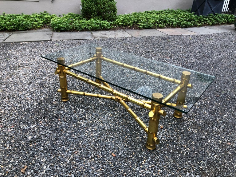 Mid-Century Modern Gold Faux Bamboo Coffee Table In Excellent Condition For Sale In Hopewell, NJ