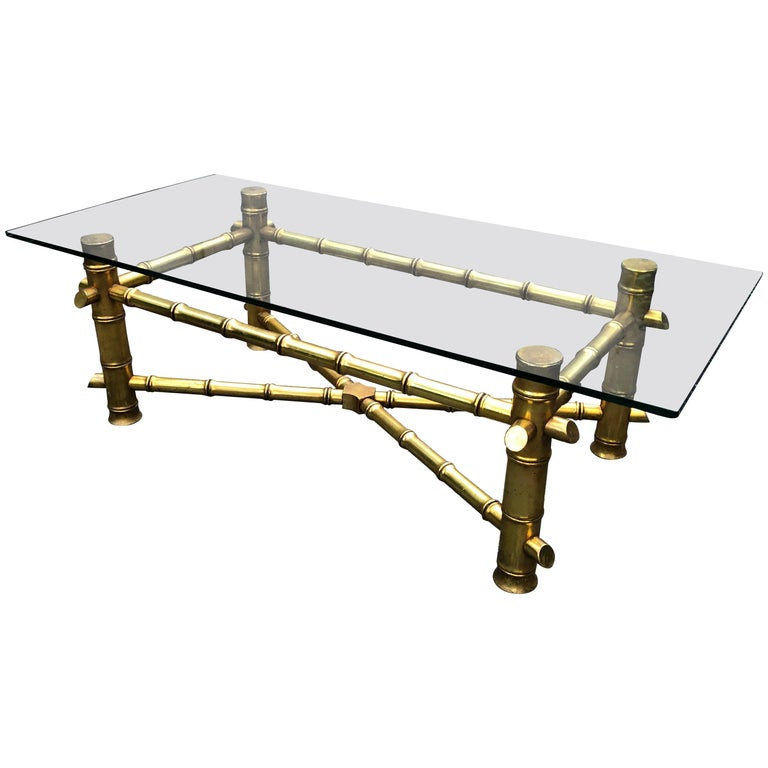 Mid-Century Modern Gold Faux Bamboo Coffee Table For Sale