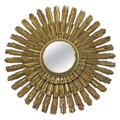 Mid-Century Modern Gold Gilt Starburst Decorative Wall Mirror