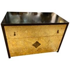 Mid-Century Modern Gold Leaf and Ebonized Cabinet