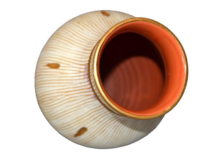 Mid-Century Modern Gold Leaf & Beige Hand Crafted Italian Ceramic Glazed Vase 5